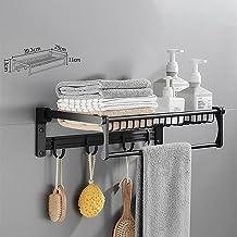 Opvouwbaar frame, zwarte badkamer muur opknoping bad handdoek opbergrek, badkamer handdoek rek, -Handdoek rek dubbele vouw...