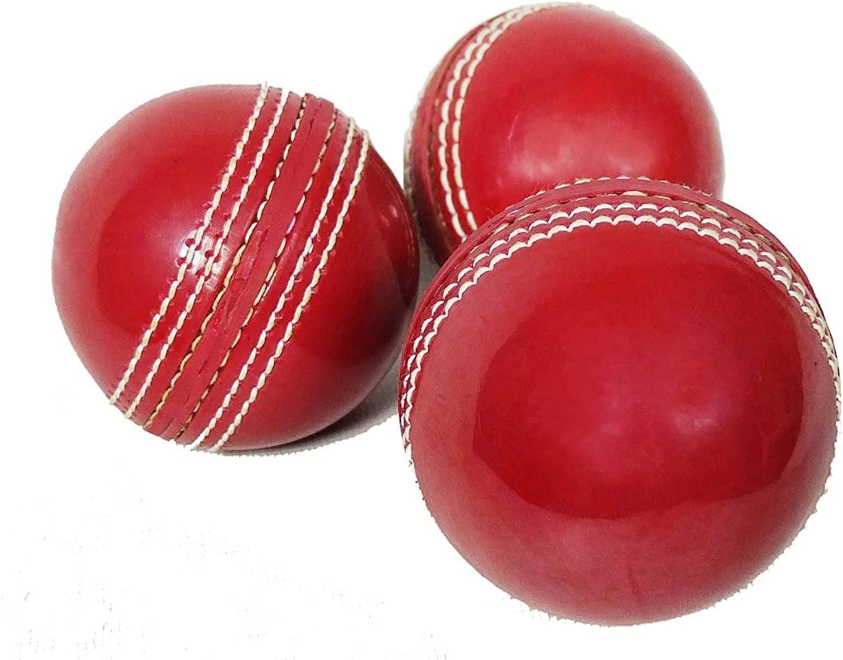Cricket Sports Play Popular overseas Red Leather Ball Pack of 3 Las Vegas Mall