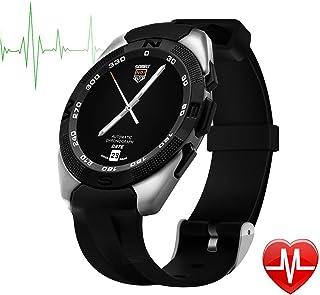 TechCommYang Reloj Deportivo Hombre Pulsometro, Bluetooth 4.0 Podómetro Resistente al Agua Música Bluetooth Prueba del Ritmo Cardíaco Monitoreo del Sueño Recordatorio Sedentario - Gris