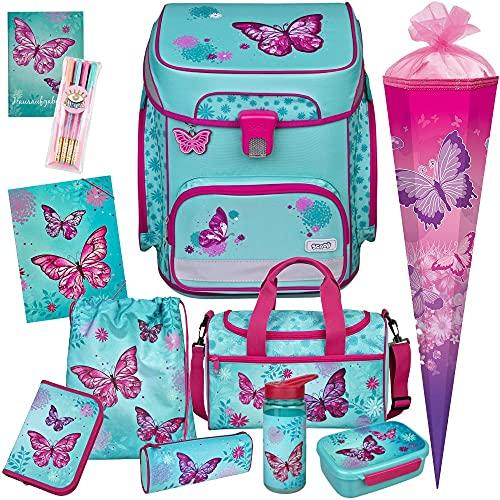 Butterfly - Schmetterling - SCOOLI Undercover EasyFit Schulranzen-Set 12tlg. mit Sporttasche, SCHULTÜTE, BROTDOSE, TRINKFLASCHE und Gummizugmappe A4 - HAUSAUFGABENHEFT und GELSTIFTE GRATIS