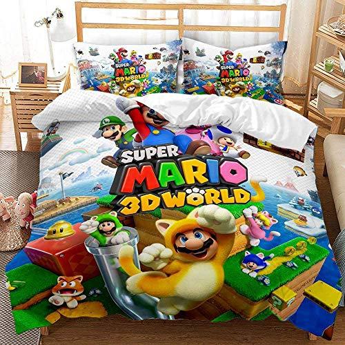 Super Mario Game Kinder Bettbezug, 3D Digital Cartoon Print Bettwäsche-Set, weicher Bettbezug Home Decor für Jungen Mädchen (M,135x200)