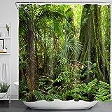 LB Grün Wald Duschvorhang 180x180CM Tropischer Dschungel Duschvorhänge mit Haken,Grüne Blatt Palme Baum Bad Vorhang Polyester Wasserdicht Anti Schimmel Badezimmer Gardinen