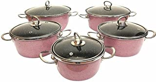 10 Pieces Cookware Set,5.2/4.4,2.6,2.1,1.4 Qt Pink Pots and pans set Kitchen cookware sets Cookware sets Pots and pans Pot...