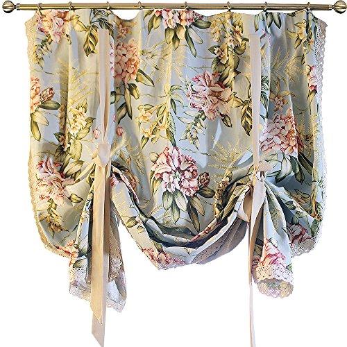 YOUSA Tie-Up Roman Curtain Kitchen Balloon Window Curtain (55''W x 75''L,One Panel)