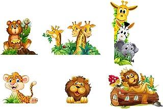 Adesivi Murali Adesivi da Parete Camera da letto per Bambini Decorazioni Parete 6 PEZZI Giraffe Orsetto Leone Elefantino Z...
