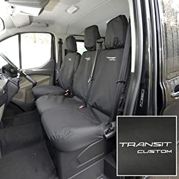 Tailored Grey Front Rear Row Seat Covers for Ford Transit MK8 Tipper 2014 on