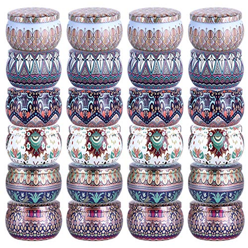 24 Pieces DIY Candle Tins, TOKSEO 4 Oz Round Containers with Lids for Candle Making