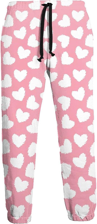 Mens Elastic Waist Sweatpants White Plush Heart Joggers Sweatpants for Gym Training Sport Pants