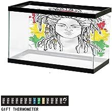 Khaki home Fish Tank Backdrop Rainbow,Unicorn Hopping on Clouds,Aquarium Background, Thermometer Sticker