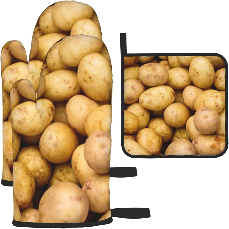 4 years warranty Garden Potatoes Oven Mitts and 2021 Pot Resist 3 of Heat Sets Holders