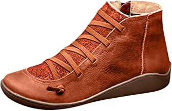 SHUSUEN Women's Arch Support Boots Fashion Lace Up Side Zipper Ankle Booties Comfortable Leather Flat Heel Boots