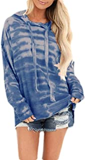 Macondoo Women Sweatshirt Long-Sleeve Tie Dye Loose Top Hooded Drawstring Hoodie