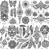 COKTAK 6 Hojas Único Negro Pegatinas de Tatuaje Temporal Para Mujeres Adultos Chicas Pluma Mandala Flor Grande Grande Brazo Tatuajes de Encaje Indio Búho Sexy Boda Tattoos Flores