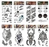 Pegatinas de tatuaje de larga duración y realistas, 8 piezas de dibujos animados y tótem en...