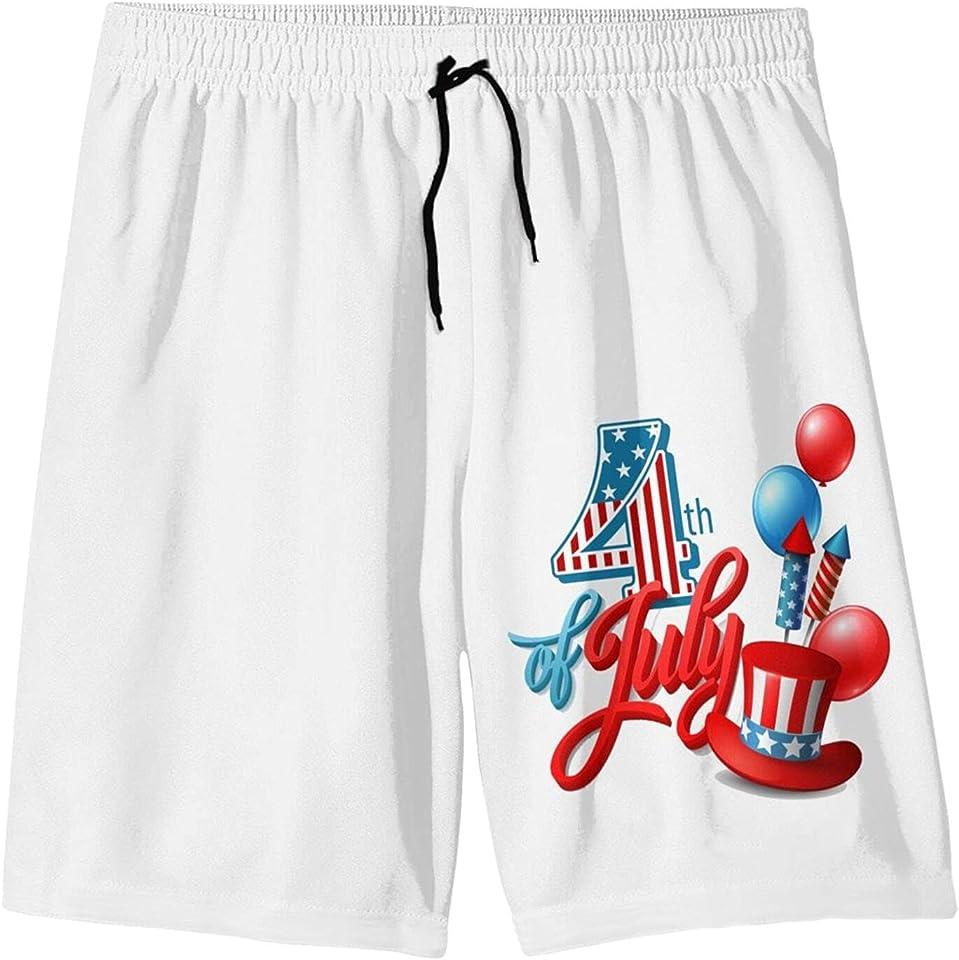 ZUIXINLIAN July 4th Independence Day Swim Trunks Quick Dry Swimwear Beach Swim Shorts Sports Surfing Drawstring Boys