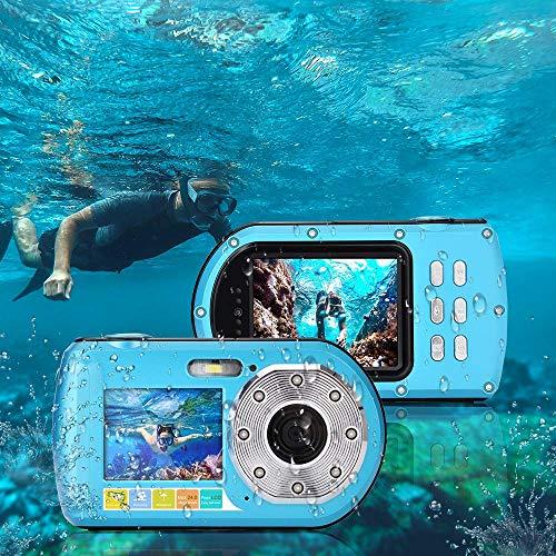 wasserdichte Digitalkamera,UnterwasserKamera Camcorder, Mini Action Sport Tauchkamera klein und tragbar Selbstauslser 24MP Dual Display 2,7 & 2,0 Zoll 16fach Digitalzoom Videorecorder(Blau)