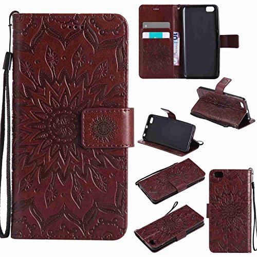 pinlu® PU Leder Tasche Etui Schutzhülle für Xiaomi Mi5 Lederhülle Schale Flip Cover Tasche mit Standfunktion Sonnenblume Muster Hülle (Braun)