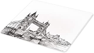 Ambesonne Vintage Cutting Board, Old Fashion London Tower Bridge Sketch Architecture British UK Scenery Art Print, Decorative Tempered Glass Cutting and Serving Board, Large Size, Black White