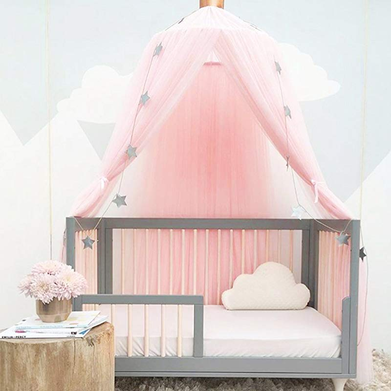 Luerme Dome Fantasy Champion Netting Curtains Play Tent Bed Canopy Mosquito Net Bedding With Round Lace Baby Boys Girls Games House For Kids Playing Reading Pink