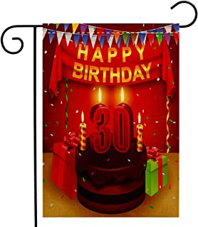 Custom Double Sided Seasonal Garden Flag 30th Birthday Decorations Celebration with Chocolate Cream Cake Colorful Flags and Gifts Multicolor Welcome House Flag for Patio Lawn Outdoor Home Decor