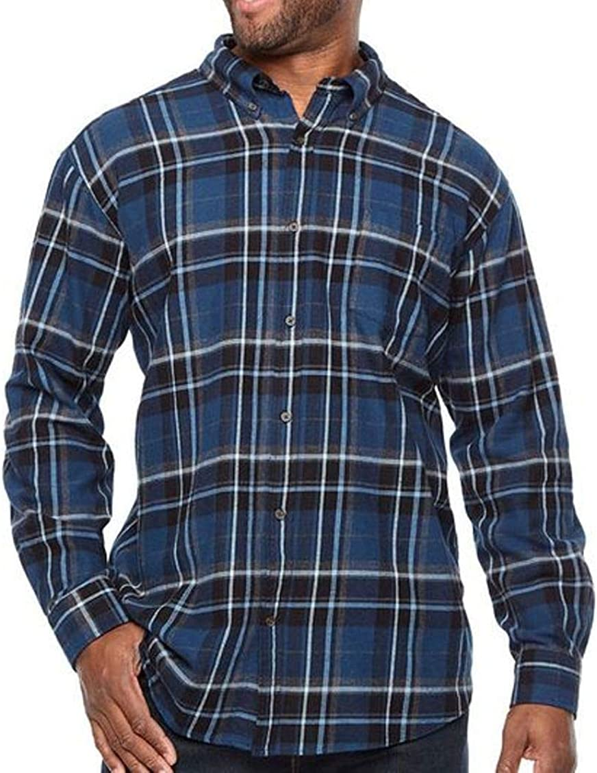 The Foundry Supply Men's Classic Fit Flannel Shirt Indigo Grid