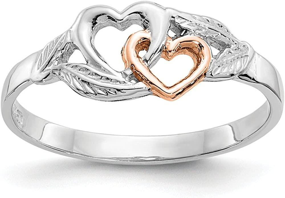 14k White Rose Gold Plated Hearts Leaves Band Ring Size 7.00 Love Fine Jewelry For Women Gifts For Her