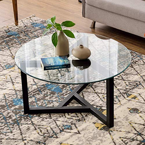 ALI VIRGO Modern Round Coffee Cocktail Table with Tempered Glass and Sturdy Wood Legs Base,Easy Assembly, Black