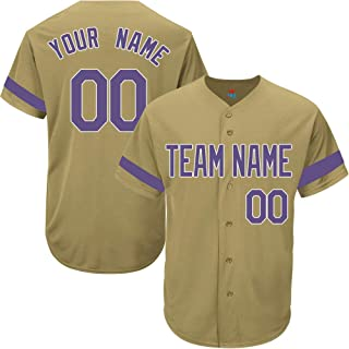 Gold Custom Baseball Jersey for Men Women Youth Game Embroidered Team Player Name & Numbers S-5XL Purple White Striped