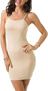 Women's Basic Sexy Seamless Camisole Stretchy Spaghetti Strap Slip Mini Dress