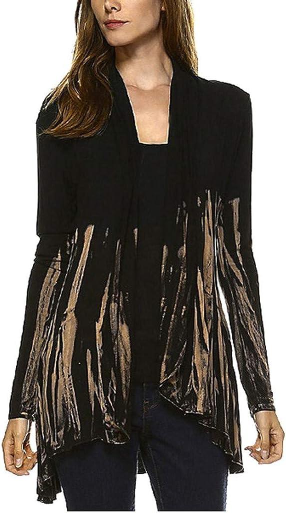 aihihe Women's Open Front Drape Hem Lightweight Plus Size Cardigan Casual Long Sleeve Tye Dye Blouse