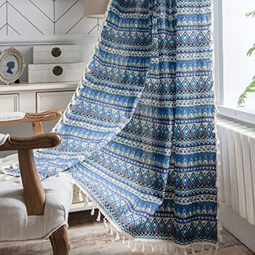 """vctops Bohemian Cotton Linen Geometric Printed Window Curtain Panel with Tassels Rod Pocket Room Darkening Curtain Panel for Living Room Bedroom, 1 Piece (59""""x94"""",Blue)"""