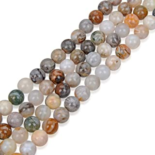 2 Strands Top Quality Natural Bamboo Leaf Agate Gemstone 10mm Round Loose Stone Beads (~ 68-74pcs total) for Jewelry Craft Making GF8-10