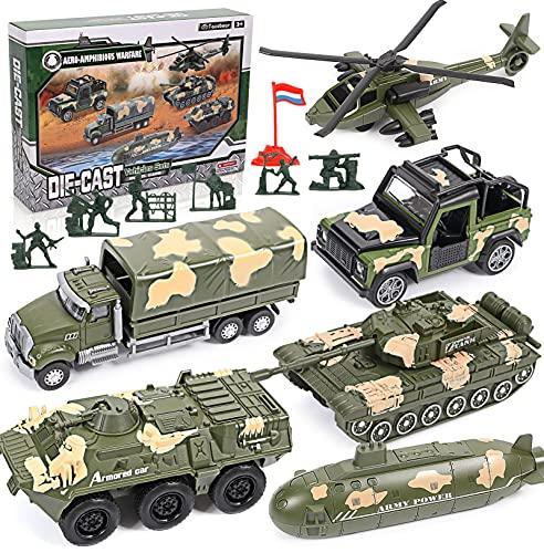 vamei 6 Stück Spielzeugautos Militär Auto Set Militär Fahrzeuge Armeespielzeug Panzer Hubschrauber Mini Cars Modelle aus Metalllegierung Soldatenmodell Geschenk für Kinder Jungen 3 4 5 6 7 8 Jahre