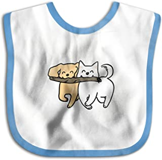 UBCATDESA Two Silly Dogs Baby Bibs, Unisex Baby Soft Cotton Easily Clean Teething Bibs(Blue&Pink)