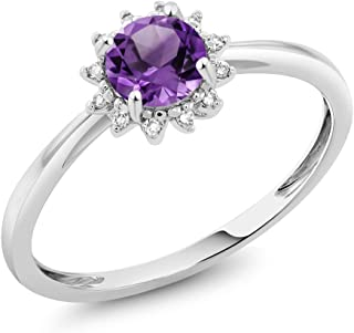 Gem Stone King 10K White Gold 0.45 Ct Round Purple Amethyst and Diamond Engagement Ring (Available 5,6,7,8,9)