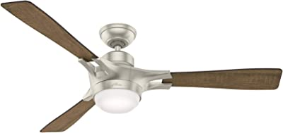"""Hunter Signal Indoor Wi-Fi Ceiling Fan with LED Light and Remote Control, 54"""", Matte Nickel"""