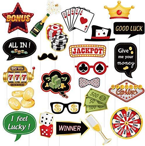 SUNBEAUTY Casino Las Vegas Party Photo Booth Props Las Vegas Casino Poker Noche Tema Mágico Cumpleaños Decoración Fiesta Selfie Props 24 Pcs