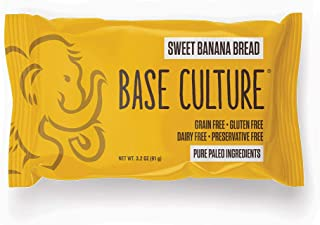 Base Culture Sweet Banana Bread, Snack Size | Delicious 100% Paleo, Gluten, Grain, Dairy, and Soy Free (4g Protein Per Loa...