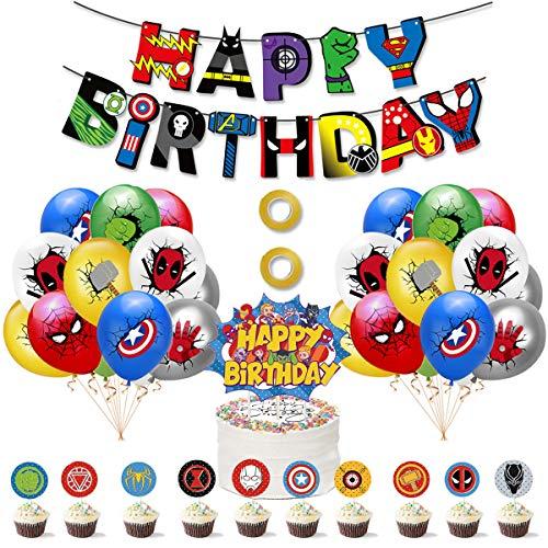 SUNSK Luftballon Geburtstag Dekoration Set für Superhero Latexballon Happy Birthday Banner Kuchen Toppers für Avengers Tortendeko 38 Stück