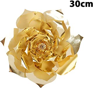 Bolange 30Cmdiy Paper Rose Background Wall Artificial Flower, Fashion Paper 3 Size Rose Background Paper Flower Wedding Party Decoration - Gold