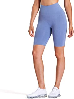 Aoxjox Women's High Waisted Tummy Control Workout Yoga Gym Simle Contour Seamless Cycling Shorts