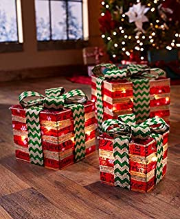 The Lakeside Collection Lighted Imitation Red and Green Gift Boxes - Christmas Home Decoration