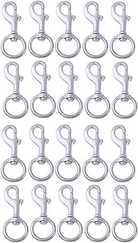 CUTICATE Set de 20 Crochets Mousquetons Pivotant pour Porte-clés Porte-clefs 120mm x 50mm