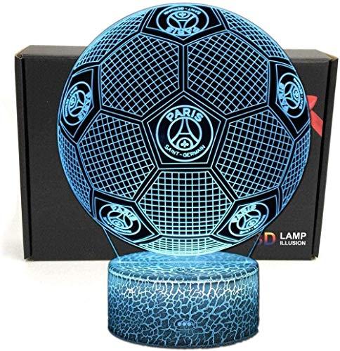 3D Fußballform Smart Optical Illusion 7 Farben LED Nachtlicht Tischlampe mit USB-Stromkabel für Football League (Paris Saint-Germain) Fans Geschenk