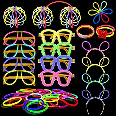 Yodeace Party Decoration 100pcs Glow Sticks Party Pack Light Kit with 122 Connectors for Kids to Create :Bracelets, Necklaces, Glasses and More, Toys Light up for Party Enjoyable