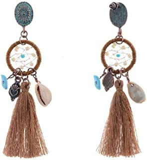 Dangle Medallion & Beads Extra Long Statement Earrings w/Silk Thread Tassels 2 1/2
