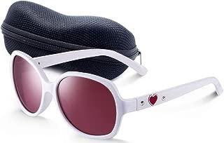 White Cute Kids Sunglasses with Case, UV400 Gradient Lens...