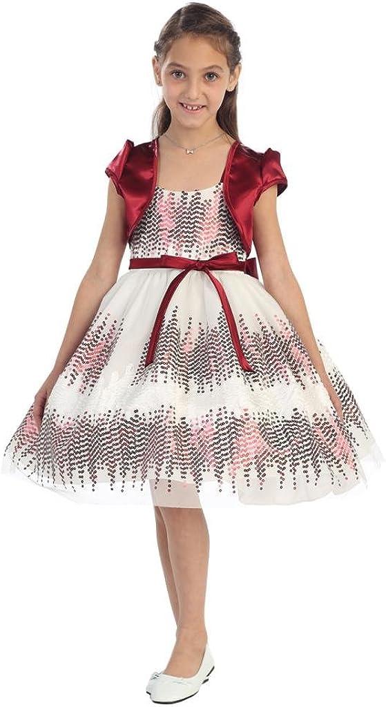 Aki_Dress Two-Tone Sequins Mesh & Spaghetti Strap with Bolero for Big Girl & Flower Girl