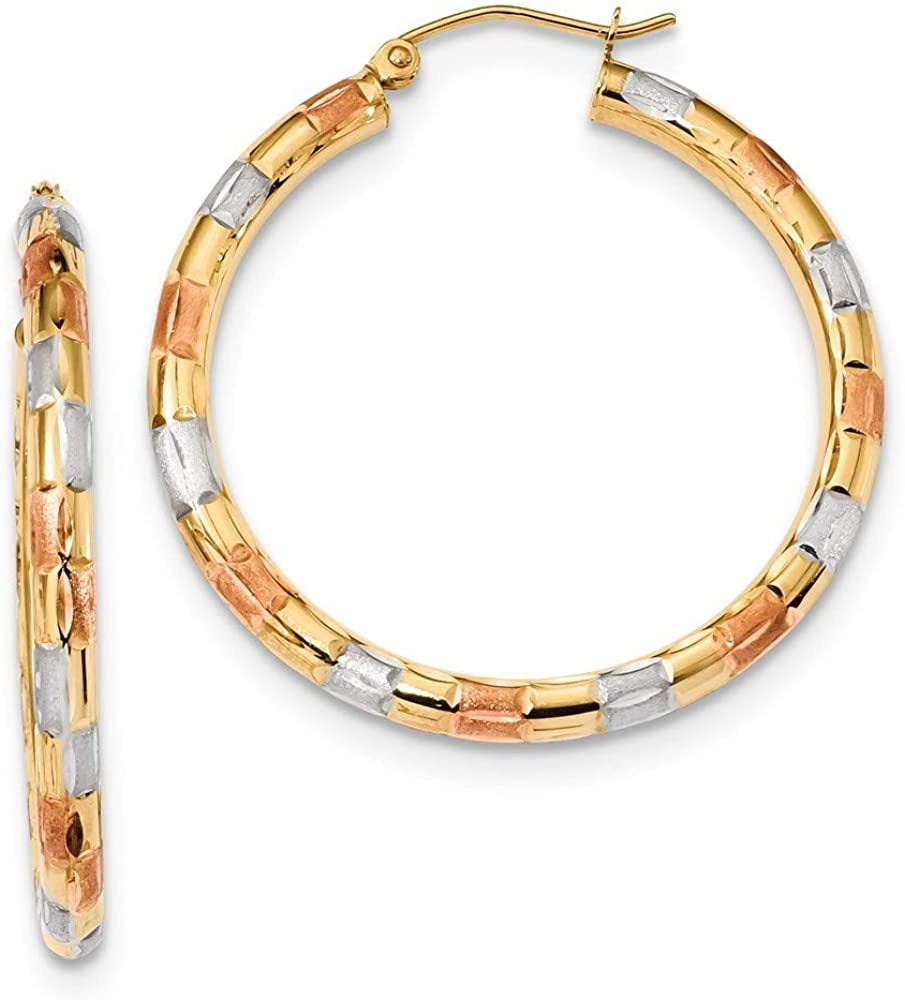 Albuquerque Mall 14k Yellow Gold With White and S Polished And Satin Rhodium Tulsa Mall Rose