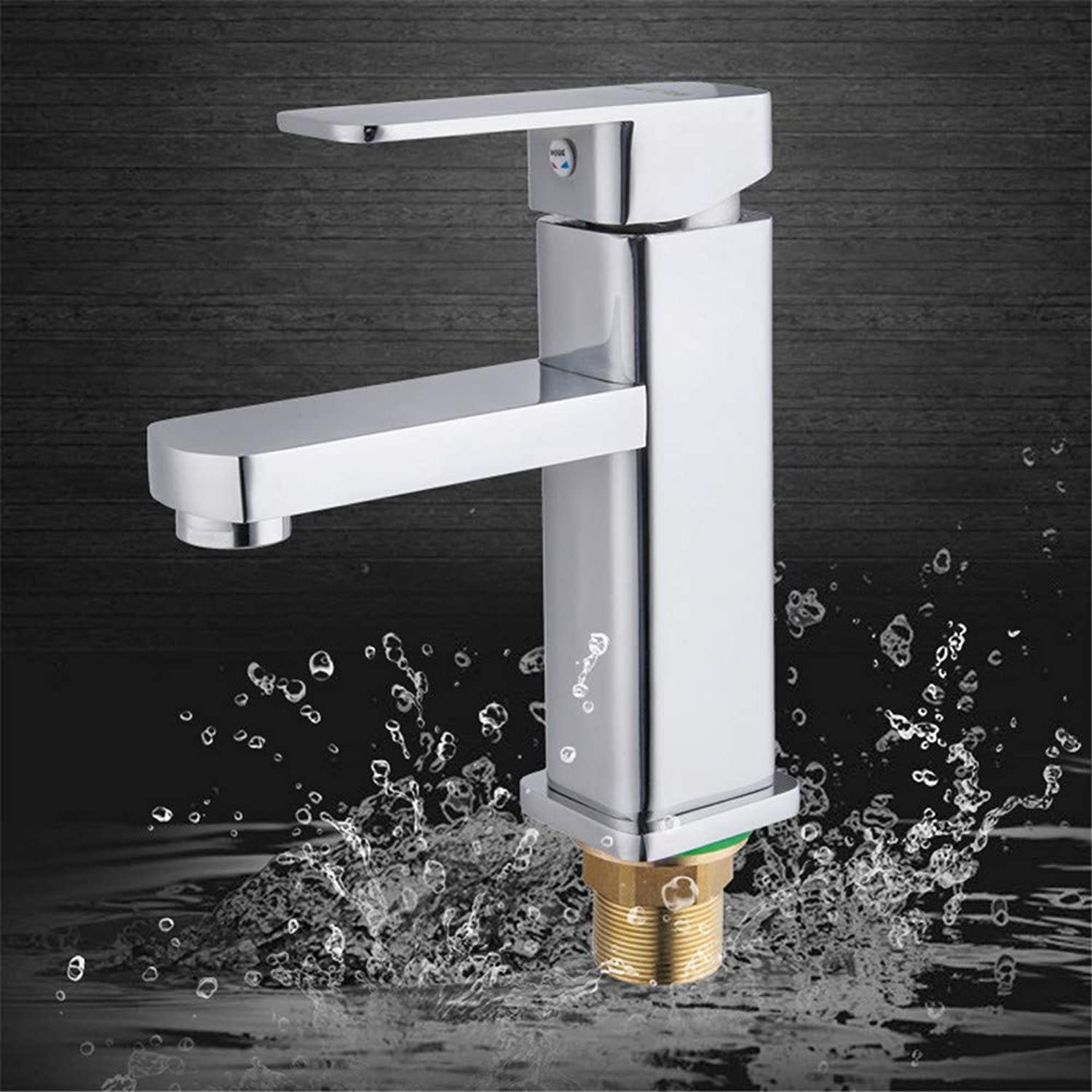 Zhcmy Square Single Hole greenical Hot And Cold Water Mixer Faucet Bathroom Hardware Ware Washbasin Faucet